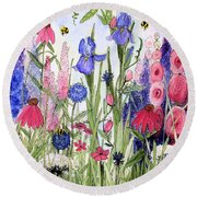 Round Beach Towel featuring the painting Garden Cottage Iris And Hollyhock by Laurie Rohner