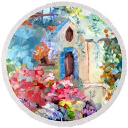 Garden Door  Round Beach Towel