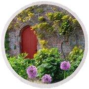 Garden Door - Paint With Canvas Texture Round Beach Towel