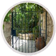 Round Beach Towel featuring the photograph Garden Door Entrance by Yoel Koskas