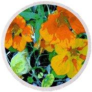 Round Beach Towel featuring the digital art Garden Flavor by Winsome Gunning