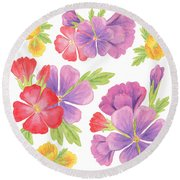 Garden Flowers Dance Round Beach Towel
