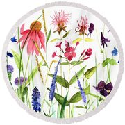 Round Beach Towel featuring the painting Garden Flowers by Laurie Rohner