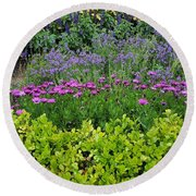 Round Beach Towel featuring the photograph Garden Flowers Layers by Jasna Gopic