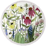 Garden Flowers With Bees Round Beach Towel