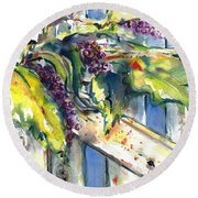 Garden Gate In Fall With Poke Berries  Round Beach Towel
