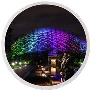 Round Beach Towel featuring the photograph Garden Globe At Night by Andrea Silies
