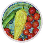 Round Beach Towel featuring the mixed media Garden Harvest by Shawna Rowe
