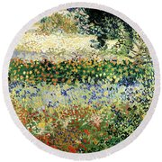 Round Beach Towel featuring the painting Garden In Bloom by Van Gogh