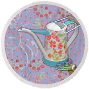 Round Beach Towel featuring the mixed media Garden Joys In Lovely Lavender by Nancy Lee Moran