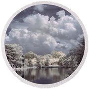 Garden Lake In Infrared Round Beach Towel