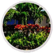 Garden Landscape 4 In Abstract Round Beach Towel