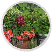 Garden Of Flowers Round Beach Towel
