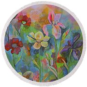 Garden Of Intention - Triptych Center Panel Round Beach Towel