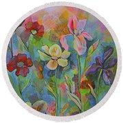 Garden Of Intention - Triptych Center Panel Round Beach Towel by Shadia Derbyshire