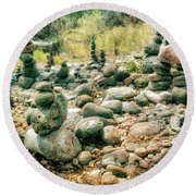 Garden Of Rock Cairns At Buddha Beach - Sedona Round Beach Towel