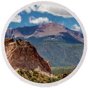 Round Beach Towel featuring the photograph Garden Of The Gods And Pikes Peak by Bill Gallagher