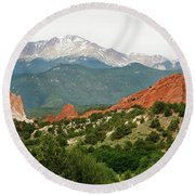 Round Beach Towel featuring the photograph Garden Of The Gods Back Range by Marilyn Hunt