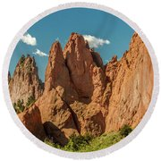 Round Beach Towel featuring the photograph Garden Of The Gods by Bill Gallagher