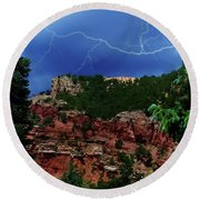 Round Beach Towel featuring the digital art Garden Of The Gods by Chris Flees