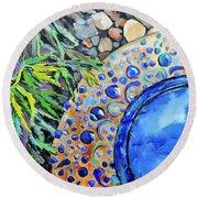 Garden Ornament Round Beach Towel by Jodie Marie Anne Richardson Traugott          aka jm-ART