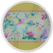 Garden Party Floorcloth Round Beach Towel by Judith Espinoza
