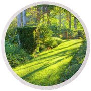 Round Beach Towel featuring the photograph Garden Path by Tom Singleton