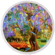 Garden Pathway Round Beach Towel by Jenny Lee