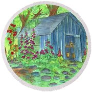 Round Beach Towel featuring the painting Garden Potting Shed by Cathie Richardson