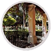 Round Beach Towel featuring the photograph Garden Promenade - San Fernando Mission by Glenn McCarthy Art and Photography
