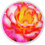 Garden Rose Beauty Round Beach Towel by Teri Virbickis
