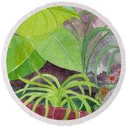 Garden Scene 9-21-10 Round Beach Towel by Fred Jinkins
