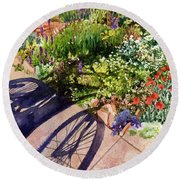 Garden Shadows Round Beach Towel