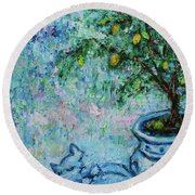 Round Beach Towel featuring the painting Garden Sleeping Cat by Xueling Zou