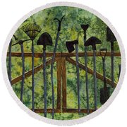 Round Beach Towel featuring the painting Garden Tools by Hailey E Herrera