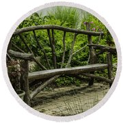 Garden Tree Bench Round Beach Towel