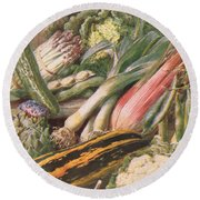 Garden Vegetables Round Beach Towel by Louis Fairfax Muckley