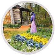 Round Beach Towel featuring the painting Garden Walk by Donna Dixon