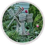 Garden Windmill Round Beach Towel