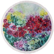 Round Beach Towel featuring the painting Garden With Reds by Joanne Smoley