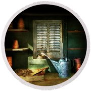 Round Beach Towel featuring the photograph Gardener - The Potters Shed by Mike Savad