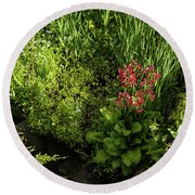 Gardening Delights - Miniature Creek With Red Primrose Round Beach Towel