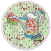 Round Beach Towel featuring the mixed media Gardening Gifts by Nancy Lee Moran