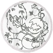 Gardening Monster Round Beach Towel