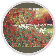 Gardens Of Spring - Tulips In Red And White Round Beach Towel by Miriam Danar