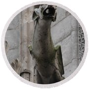 Round Beach Towel featuring the photograph Gargoyle Notre Dame by Christopher Kirby