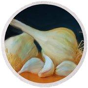 Garlic 01 Round Beach Towel by Wally Hampton