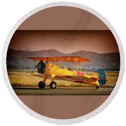Gary Peters Boeing Stearman Kaydet 2016 Planes Of Fame Version 2 Round Beach Towel