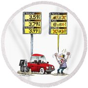 Gas Price Curse Round Beach Towel