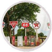 Gas Signage Round Beach Towel
